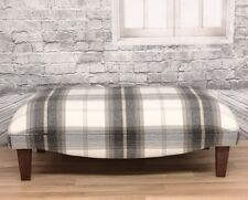 Extra Large Footstool Balmoral Charcoal Tartan Fabric with solid dark wood legs