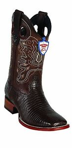 Men's Genuine Lizard Leather Square Toe Rodeo Western Boots Leather Sole
