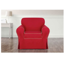 Monaco One Piece Chair Slipcover Midnight red/beige Sure Fit