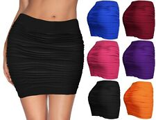 Womens Mini Stretch Seamless Solid Basic Pleated Bodycon Skirt