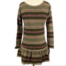 Polo Ralph Lauren Girl's Size M 10-12 Fair Isle Print Dress