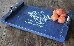 Holz Tablett Blau Druck in weiß Eisengriffe/Keramik Auftragebrett Servierbrett S