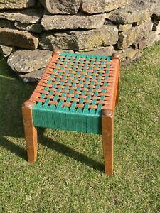 Vintage Rattan Woven Wicker Tiki Footstool Retro Teak Plant Stand Mid Century