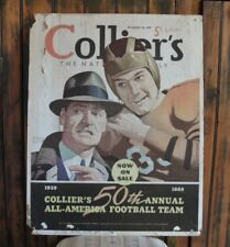 >Rare!! 1939 Collier's Magazine *COUNTER DISPLAY SIGN* All-America Football Team