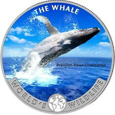2020 Republic of Congo Blue Whale - 1 Ounce Pure Silver Colorized!!