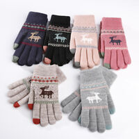 Vintage Christmas Deer Knitted Gloves Women Cotton Warm Gloves Winter Xmas Gift