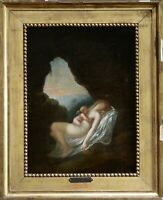 18th CENTURY  FRENCH OLD MASTER OIL ON CANVAS -  VENUS & CUPID IN CAVE