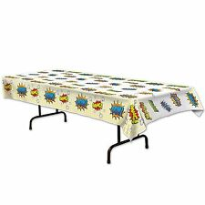 Super Hero ACTION WORD plastic TABLE COVER Comic Book Party Decoration