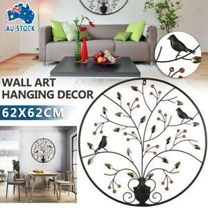 Metal Wall Art Round Hanging Tree of Life Sculpture Decor Gift Home Hotel 62cm