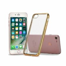 Coque Silicone Transparente Clair Gel TPU Contour Chrome Or Gold Doré Iphone 7