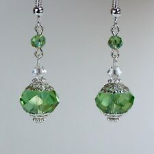 Light green crystal vintage silver drop dangle earrings wedding bridesmaid gift