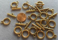 "Fourteen (14) Beadsmith 1/2"" Gold-Plated Pewter Toggle Clasps- Sturdy & Plain!"