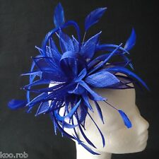 Sapphire Sinamay and Feather Fascinator For Races, Proms , Weddings