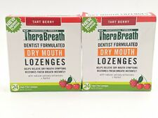 2 PACK TheraBreath Dry Mouth LOZENGES with Xylitol sugar free TART BERRY New