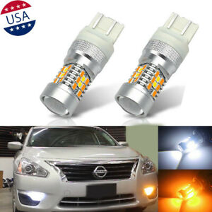 7443 Switchback White/Amber Front Turn Signal Light LED Bulbs For Nissan Altima