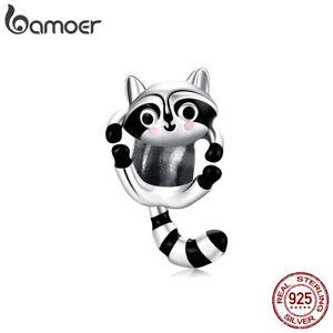 BAMOER Authentic S925 Sterling Silver DIY Charm Enamel Cute Raccoon Fit Bracelet