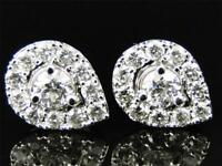 2Ct Round Cut Diamond Pear Tear Drop Stud Earrings 14K White Gold Finish