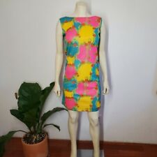 70s Psychedelic Mini Gogo Dress Hot Pink Vintage  XS/S