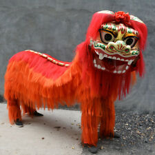 Lion Mascot Dance Costume suits Wool Red Lion Chinese Folk Art For Two Adults