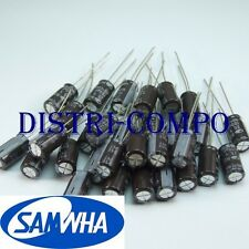 Condensateur chimique radial 25V 100µF 6.3x11 105° samwha (lot de 30)