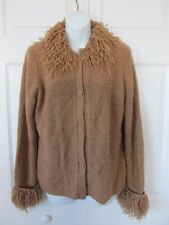 KATHIE LEE Collection Brown Button Down Boucle Textured Lion Mane Sweater SM 4-6