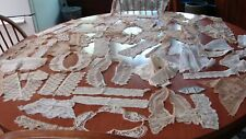 ALL FOR ONE $ ~  ANTIQUE LARGE LOT 45 LACE TRIM COLLARS CUFFS