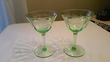 DEPRESSION VASELINE GREEN GLASS WINE GLASSES ETCHED DAISY FLOWER