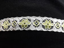 Elastic Flat Lace trimming White n green 2 x 2.5 metres  5/8inch
