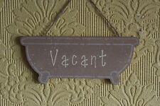 Decorative Handcrafted Wooden bath shaped sign ENGAGED/VACANT (Brown and beige)