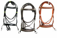 Leather-Cross-Over-Bitless-Bridles-Web-Reins-Black-Brown-Tan-Full-Cob-Size