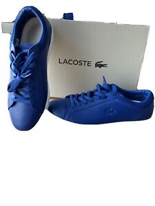 New Lacoste Men's Straightset 216 Leather Sneakers Blue Size 8