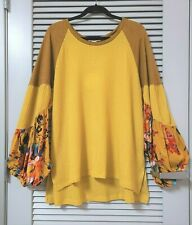 mustard waffle texture floral long puff slev top 1XL w/ anthropologie earrings