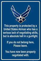"Property Protected by Airman U.S. Air Force 8"" x 12"" Aluminum Metal Sign"