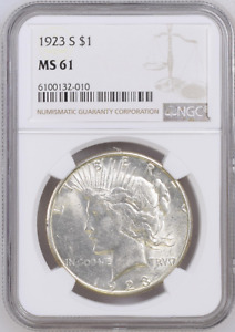 :1923-S 1$ SILVER PEACE DOLLAR CLEAR &: BRIGHT NGC BU MS-61 HIGHEST-GRADES