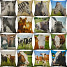 18'' Cow And donkey Throw Cotton Linen Pillow Case Home Decor Cushion Cover