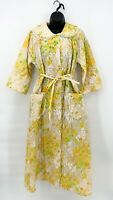 Vtg Womens Tan Yellow Floral Print Quilted 1960s House Coat Robe Mod Sz 18