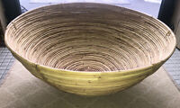 """Large Vintage Mid Century Bamboo Rattan Basket Bowl 19"""" Gathering Bowl"""