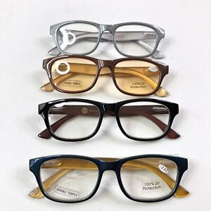 Joy Mangano Reading Glasses +2 Lot of 4 Silver Black Brown Blue