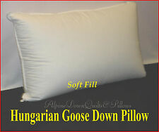 HUNGARIAN GOOSE DOWN SOFT PILLOW  QUEEN  FILL POWER