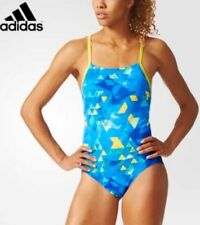 Ladies Adidas Printed Swimsuit Size 36 in Blue Green & Yellow BNWT