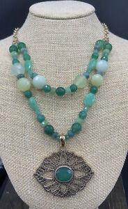 Barse Nova Necklace- Emerald Quartz & Other Stones-Bronze- NWT
