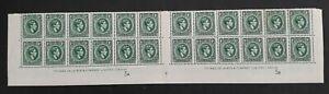 1938- Jamaica Gutter Dela Rue Imp Block 24x1d green KGVI stamps Mint SG122a