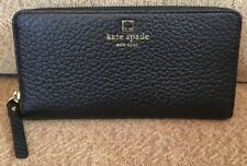 NWT KATE SPADE black leather Neda Southport Avenue zip wallet