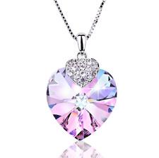 Collar De Corazón Colgante Amatista Cristal Swarovski Para Mujer Joyería De Lujo