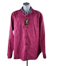 Claiborne Stretch Button-Front Shirt XL Pink Paisley Cotton Long-Sleeve NWT!