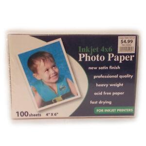 "Inkjet Photo Paper 4x6"" 100 Sheets Satin Finish Heavy Weight Professional Qualit"
