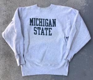 Vintage 90s Michigan State Champion Reverse Weave Sweatshirt Mens Size L Rare