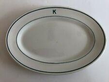 """Walker China Restaurant Blue Stripes Oval Platter """"K"""" Bedford Ohio Vintage"""
