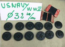 12 BOUTONS DE CABAN US NAVY 32 mm + Fil de lin   12 BUTTONS US NAVY REEFER WW2