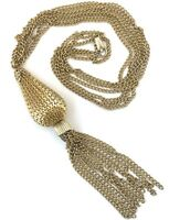 VINTAGE TASSEL NECKLACE GOLD TONE METAL MULTI STRAND STATEMENT COSTUME JEWELRY